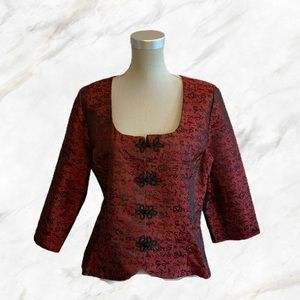 Vintage | Deep Red Traditional Chinese Blouse